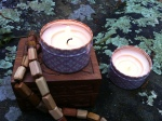 "The next day, I took both candles and my travel box down to the woods to bless them and ""energeticallly"" link everything together!"