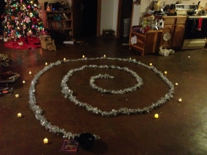 Solstice spiral. We shut the lights out and walk it with candles.