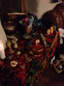 Earth-based/winter solstice altar space.